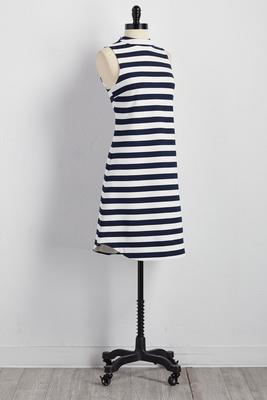 striped mock neck shift dress