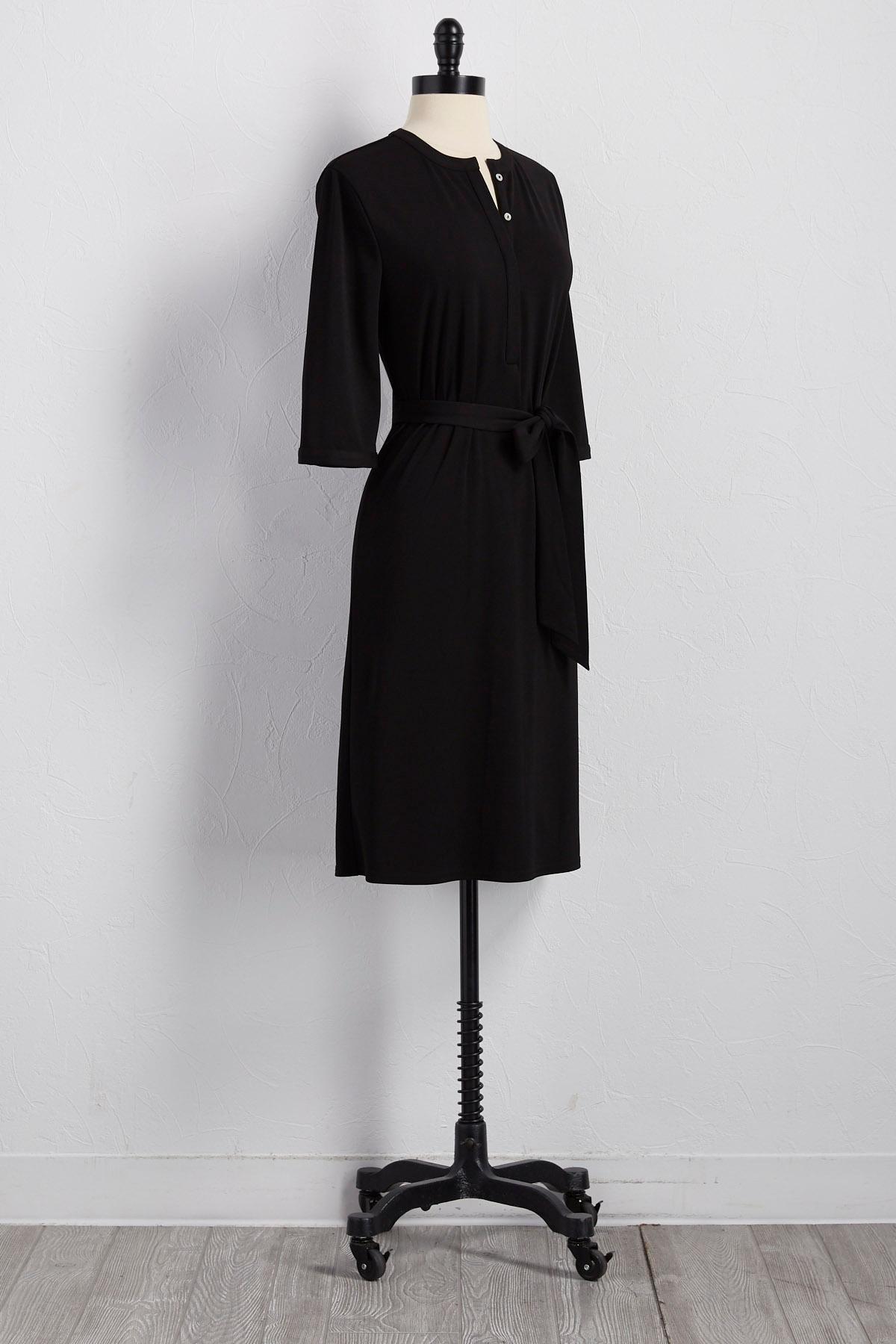 Belted Henley Shirt Dress