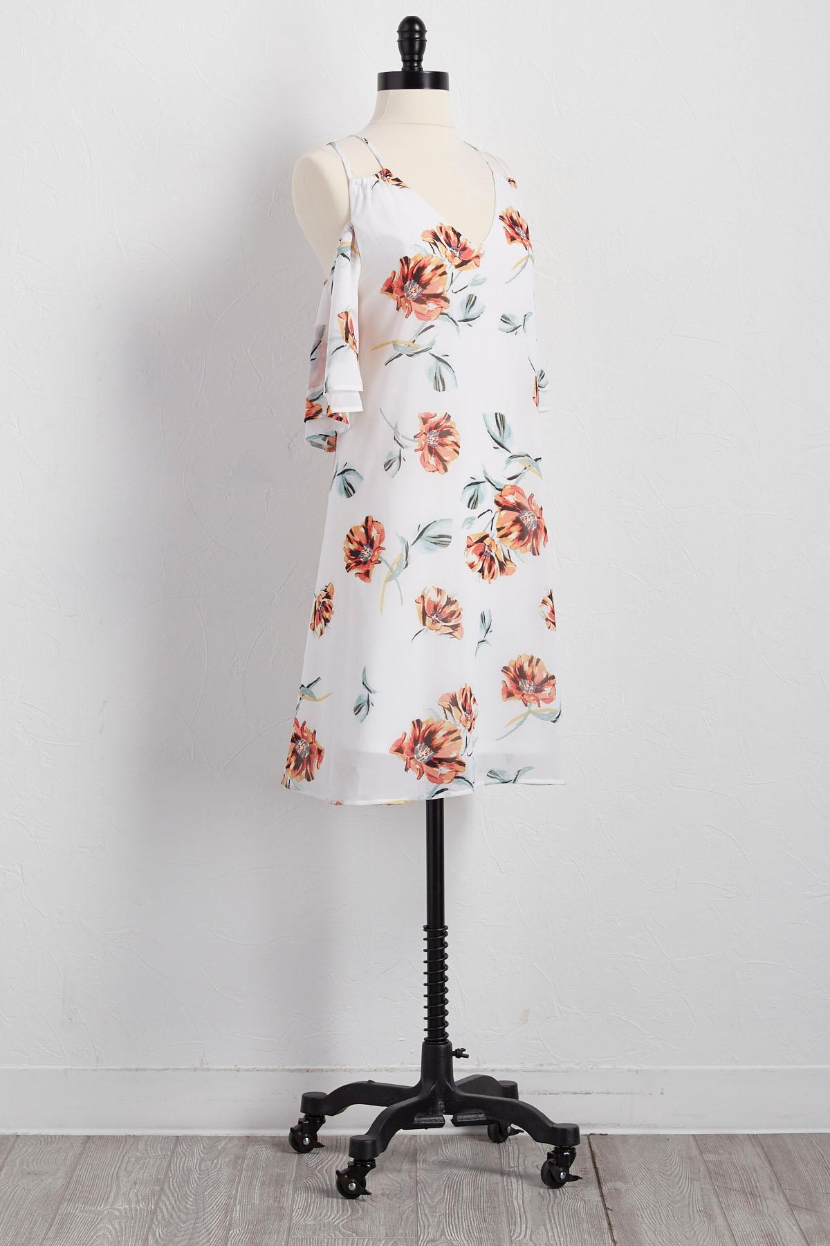 Floral Bare Shoulder Shift Dress