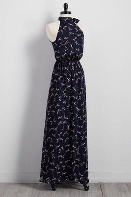 branch print tie cleo neck maxi dress