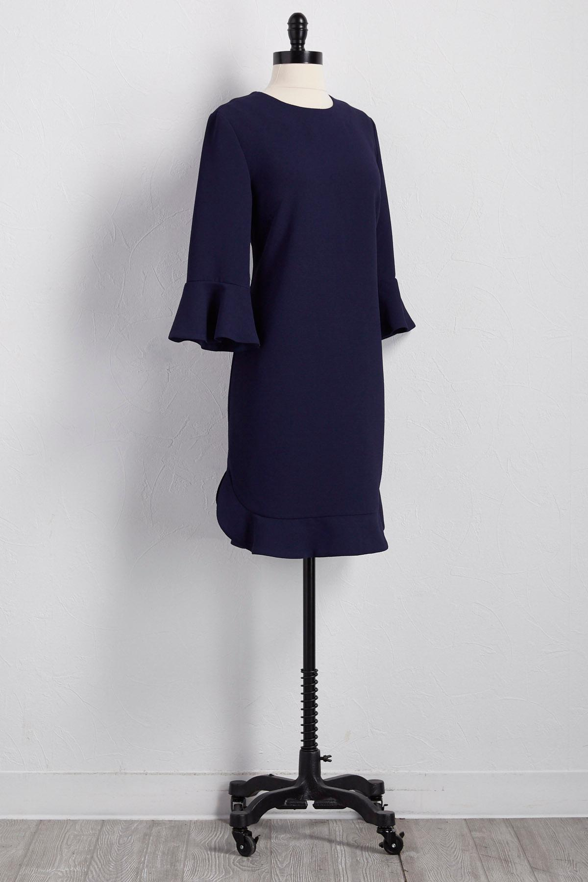Flounced Trim Shift Dress