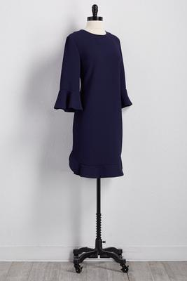 flounced trim shift dress