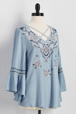 embroidered lattice neck poet top