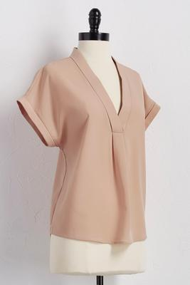shawl collar high-low popover top