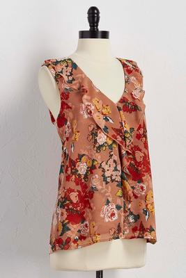 ruffle neck floral tank