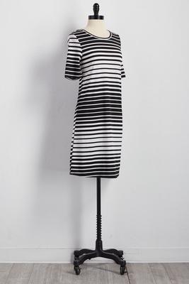 striped cutout back t-shirt dress
