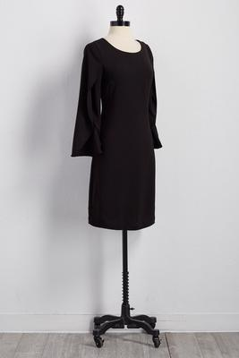 split capelet sheath dress