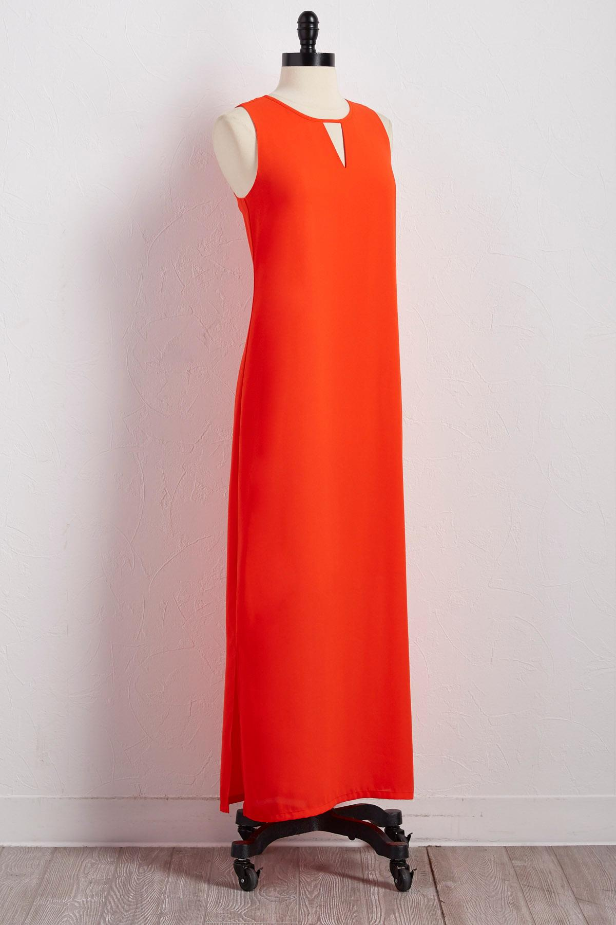 Cutout Neck Slit Maxi Dress
