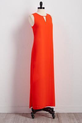 cutout neck slit maxi dress