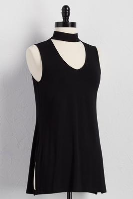 cutout mock neck tank