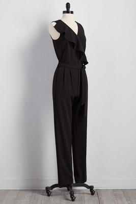 belted ruffle neck jumpsuit