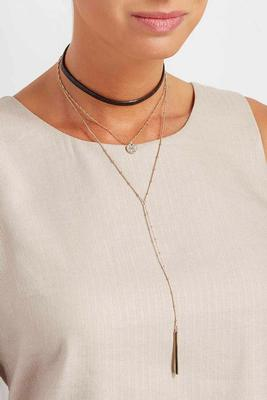 layered chain pendant choker