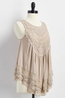 mesh and crochet babydoll top