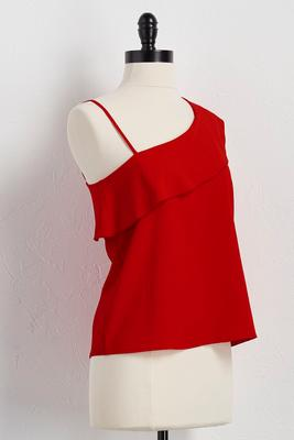 ruffled asymmetrical skimmer top