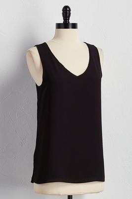 chiffon trim double layer tank