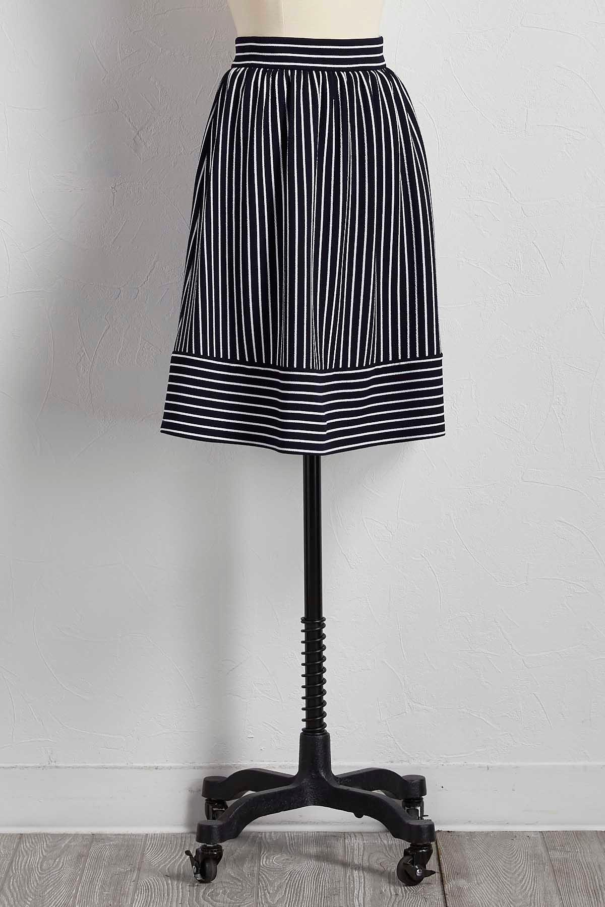 Directional Striped A- Line Skirt