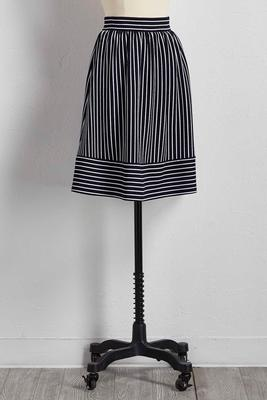 directional striped a-line skirt