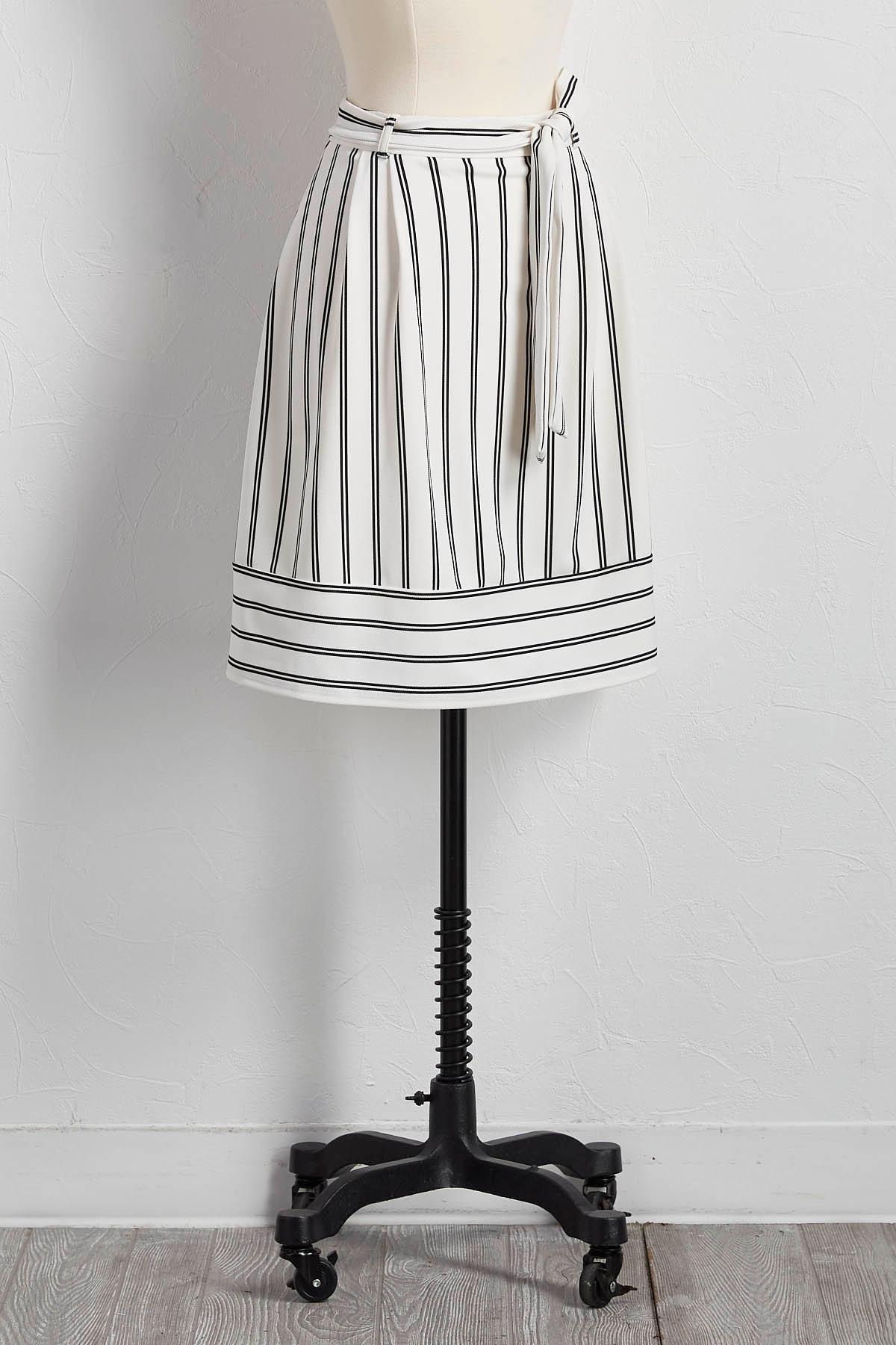 Belted Directional Striped A- Line Skirt