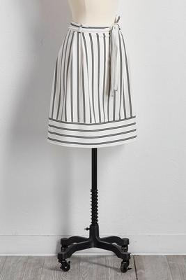 belted directional striped a-line skirt