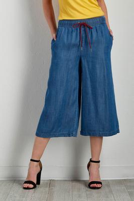 drawstring chambray culottes