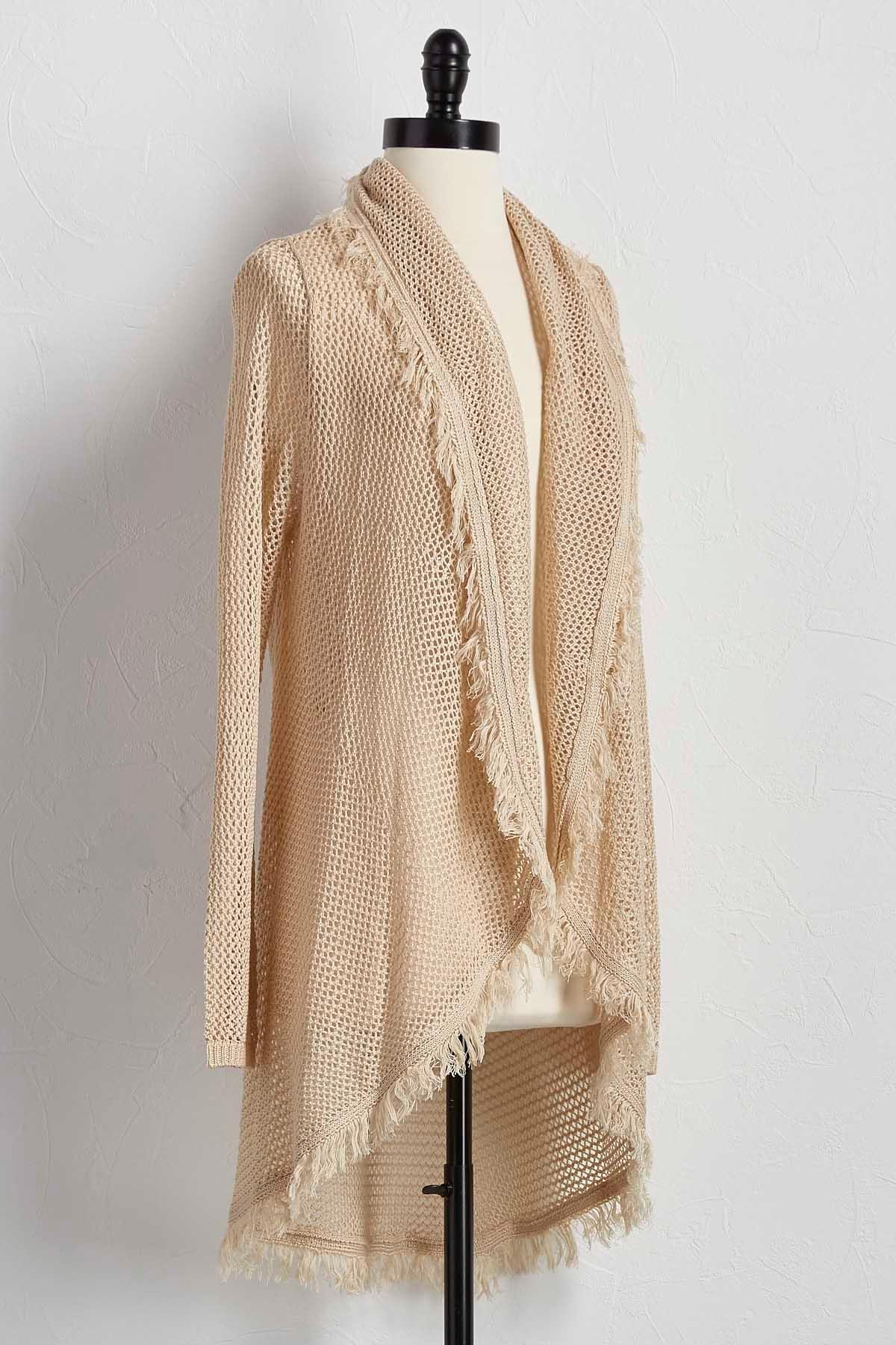 Fringe Trim Pointelle Cardigan