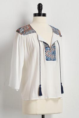 mosaic inset tasseled poet top