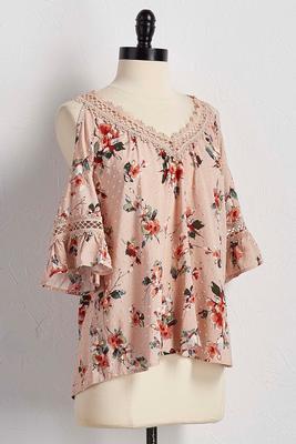 swiss dot floral bare shoulder top