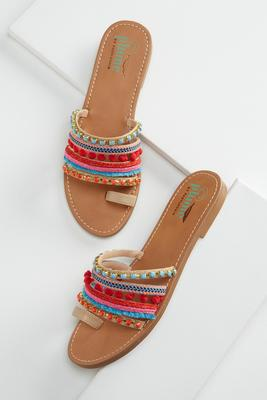 rainbow embellished toe loop sandals
