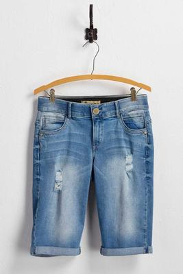 distressed bermuda jean shorts