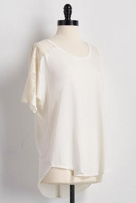 lace inset bare shoulder top