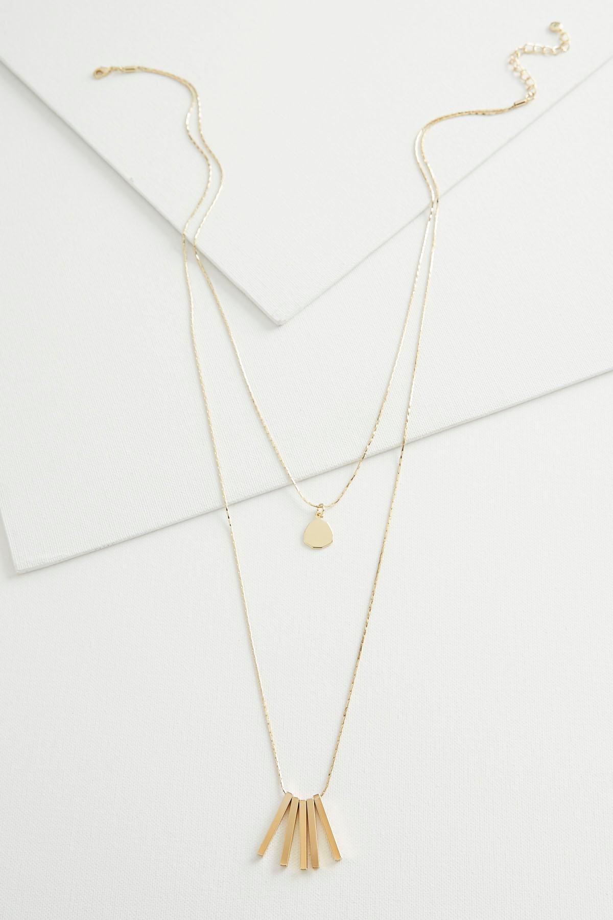 Brass Bar Fringe Layered Necklace