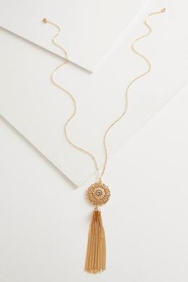 rhinestone filigree tassel pendant necklace
