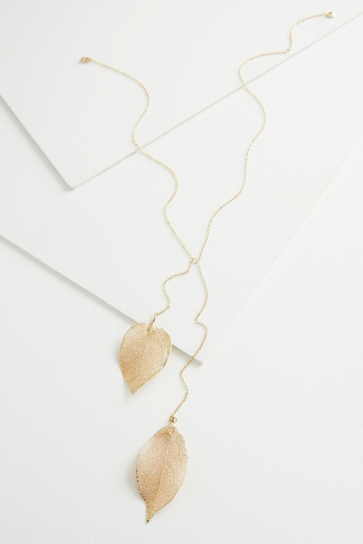 Double Leaf Y- Necklace