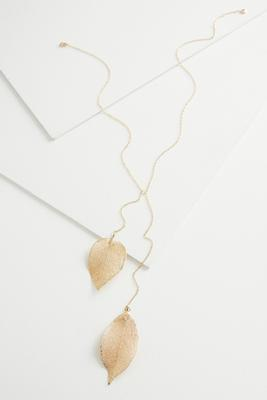 double leaf y-necklace
