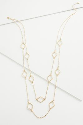 stationed clover layered necklace