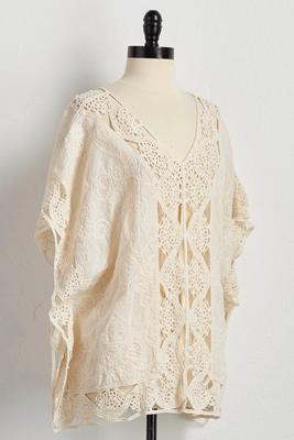 embroidered crochet trim poncho tunic