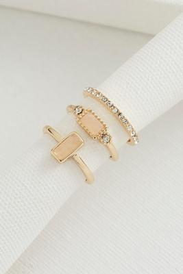rectangle stone stacked ring set