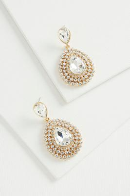 triple haloed stone statement earrings