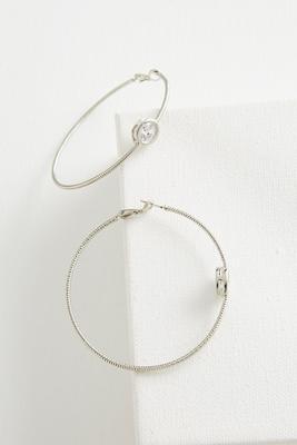 stationed cz textured hoop earrings