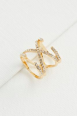 criss cross pave bar ring