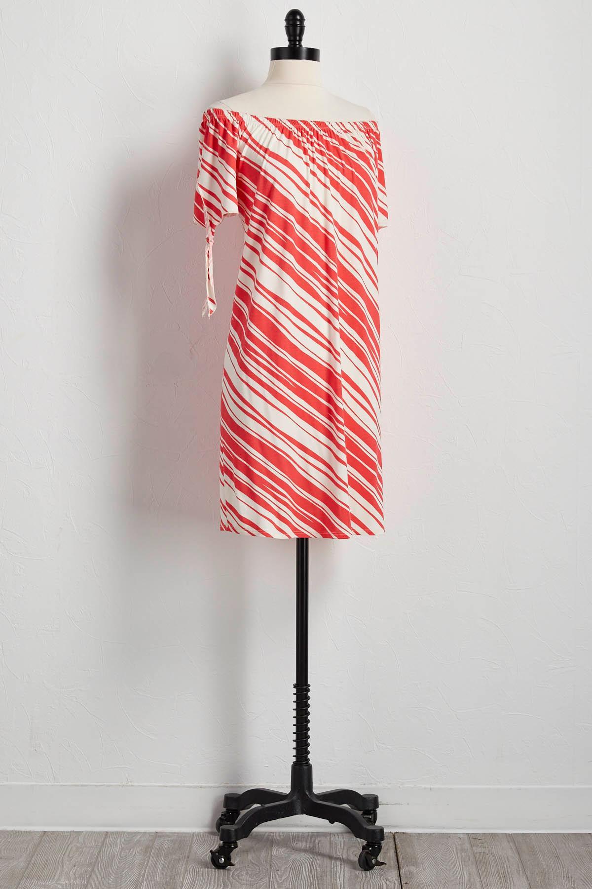 Diagonal Striped Off The Shoulder Shift Dress