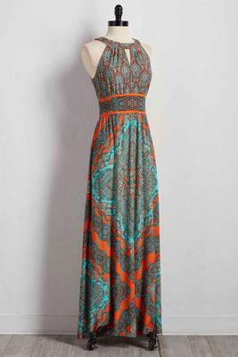 scroll print cutout maxi dress