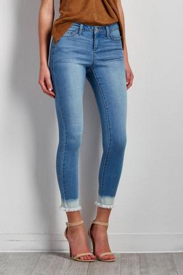 ombre frayed ankle jeans