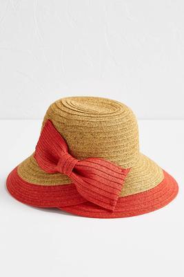 bowed straw cloche hat