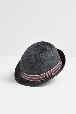 striped band marled fedora hat