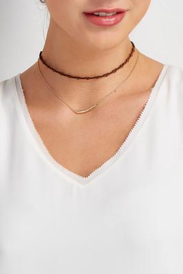 layered bar heart choker