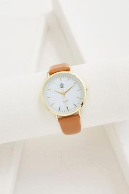 minimalistic faux leather band watch