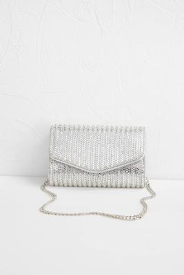 rhinestone striped metallic clutch