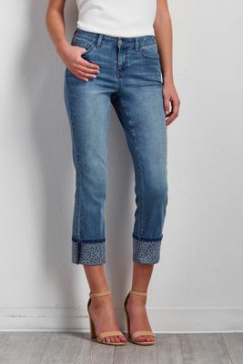 mosaic cuff crop jeans