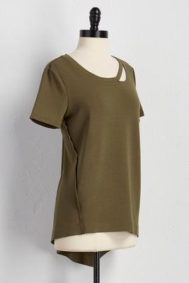 cutout neck asymmetrical lounge tunic